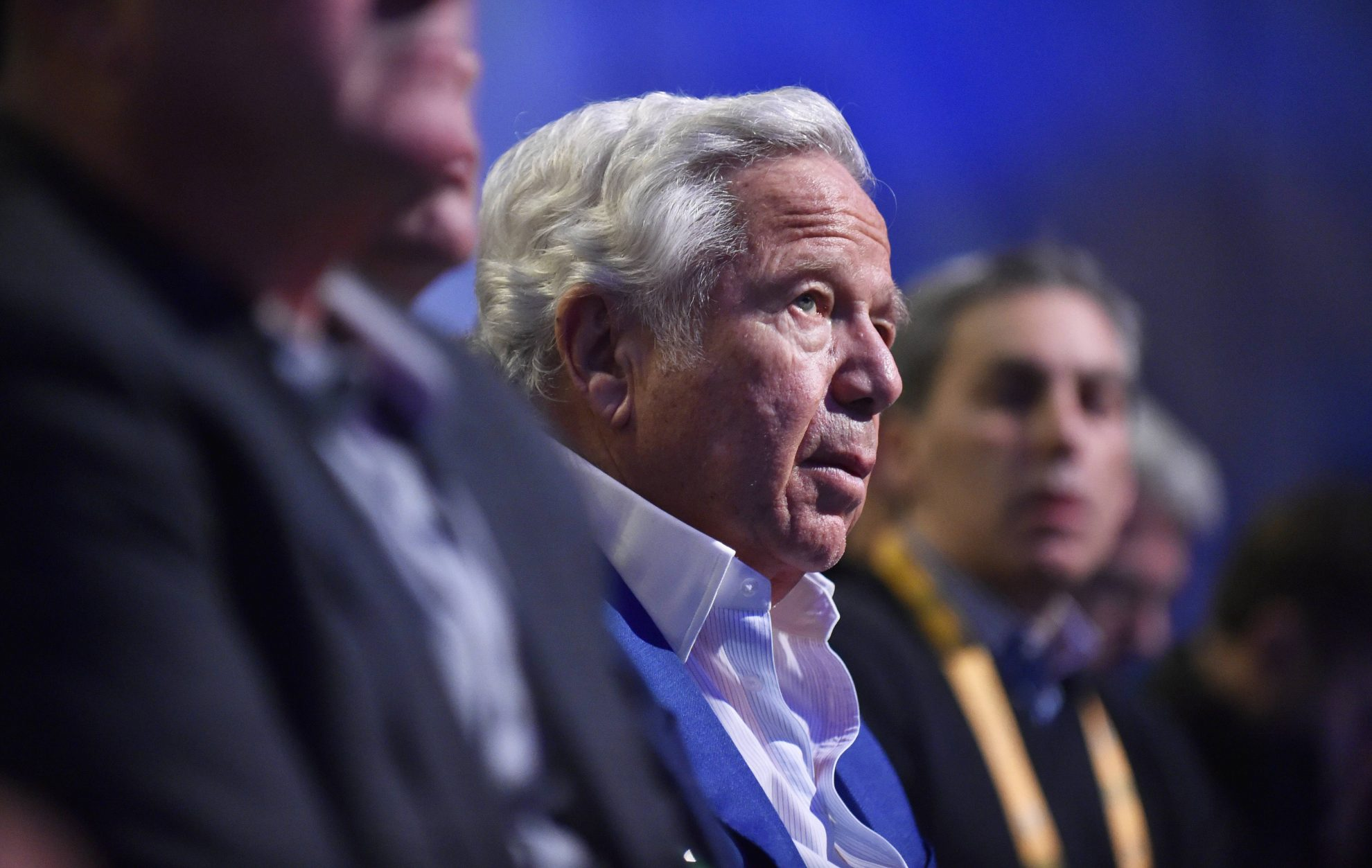 ATLANTA GA JANUARY 30 New England Patriots owner Robert Kraft listens to NFL American Football