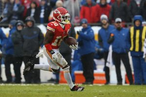 KANSAS CITY MO JANUARY 12 Kansas City Chiefs wide receiver Tyreek Hill 10 during a 36 yard tou