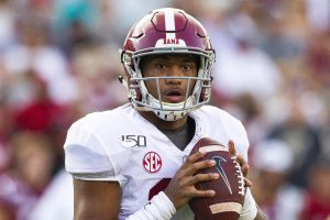 September 14 2019 Alabama Crimson Tide quarterback Tua Tagovailoa 13 looks to throw in the NCAA