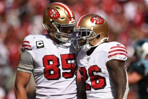 SANTA CLARA: San Francisco 49ers Running Back Tevin Coleman (26) celebrates with Tight End George Kittle