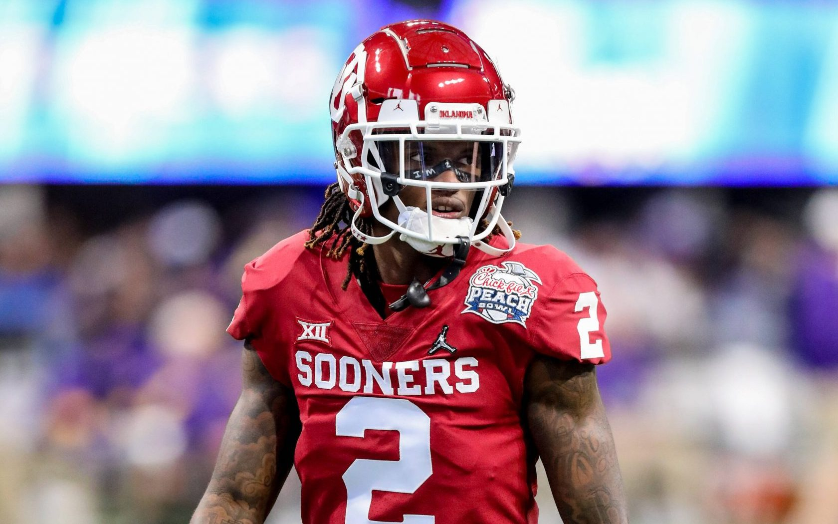December 28, 2019: Oklahoma s CeeDee Lamb (2) prior to the Chick-Fil-A Peach Bowl - a College Football Playoff Nationall