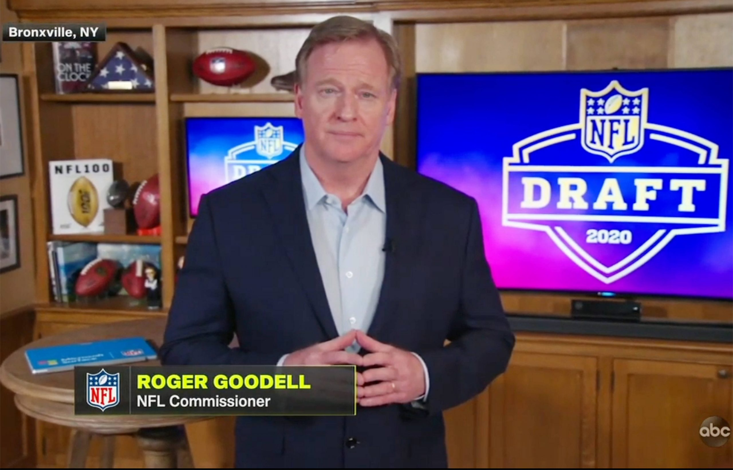 A screen grab of NFL, American Football Herren, USA commissioner Roger Goodell speaking from his home in Bronxville, New
