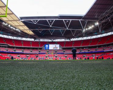 LONDON, ENG - NOVEMBER 03: A ground level view of the field at Wembley Stadium before the NFL, American Football Herren,
