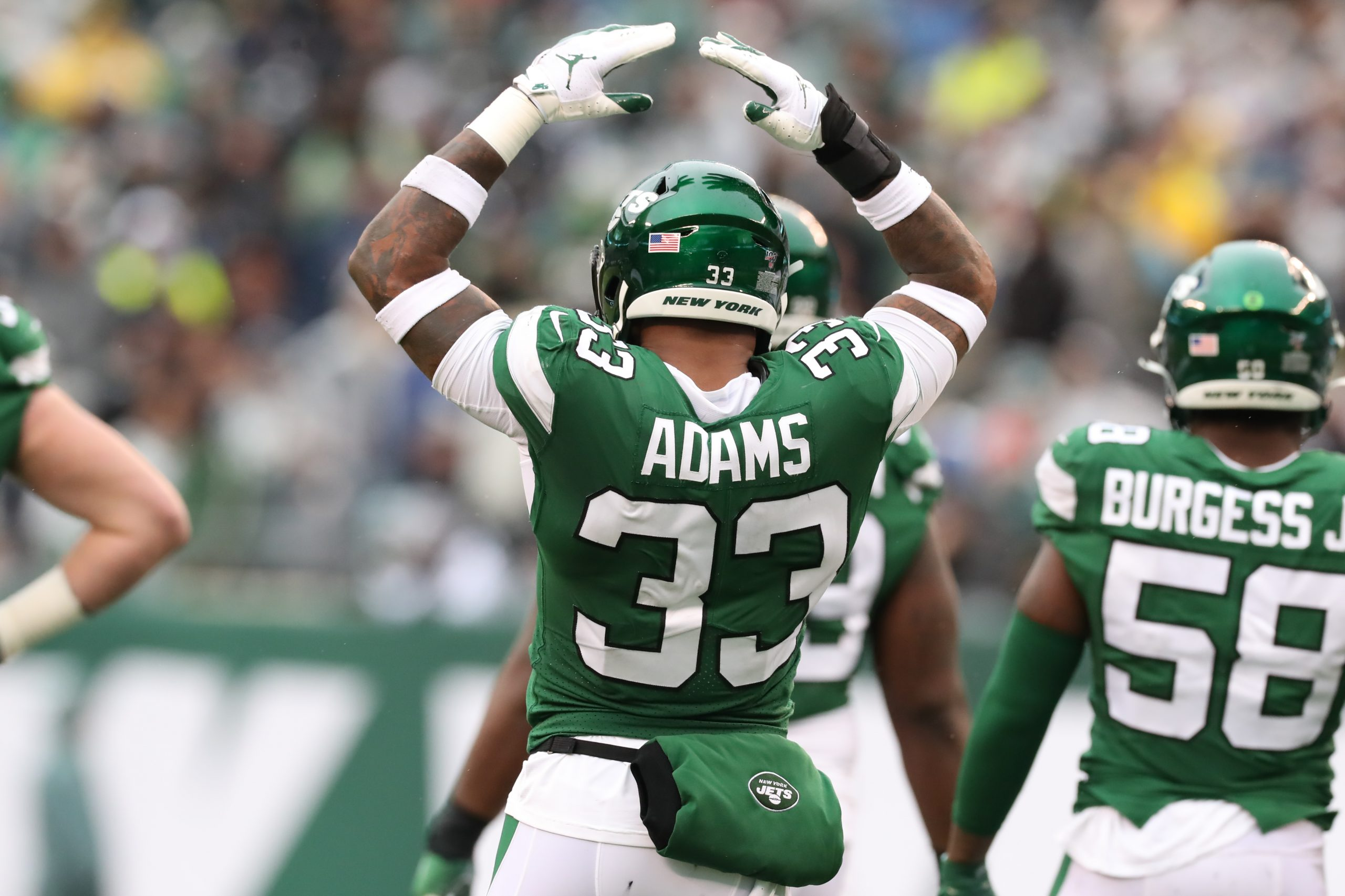 EAST RUTHERFORD, NJ - NOVEMBER 24: New York Jets strong safety Jamal Adams (33) during the National Football League game
