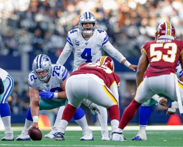 ARLINGTON, TX - DECEMBER 29: Dallas Cowboys Quarterback Dak Prescott (4) yells out the presnap signals during the NFC Ea
