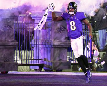 BALTIMORE, MD - JANUARY 11: Baltimore Ravens quarterback Lamar Jackson (8) takes the field on January 11, 2020, at M&T B