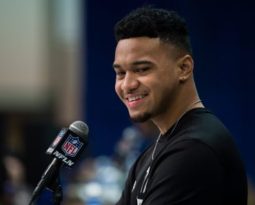 INDIANAPOLIS, IN - FEBRUARY 25: Alabama quarterback Tua Tagovailoa answers questions from the media during the NFL, Amer