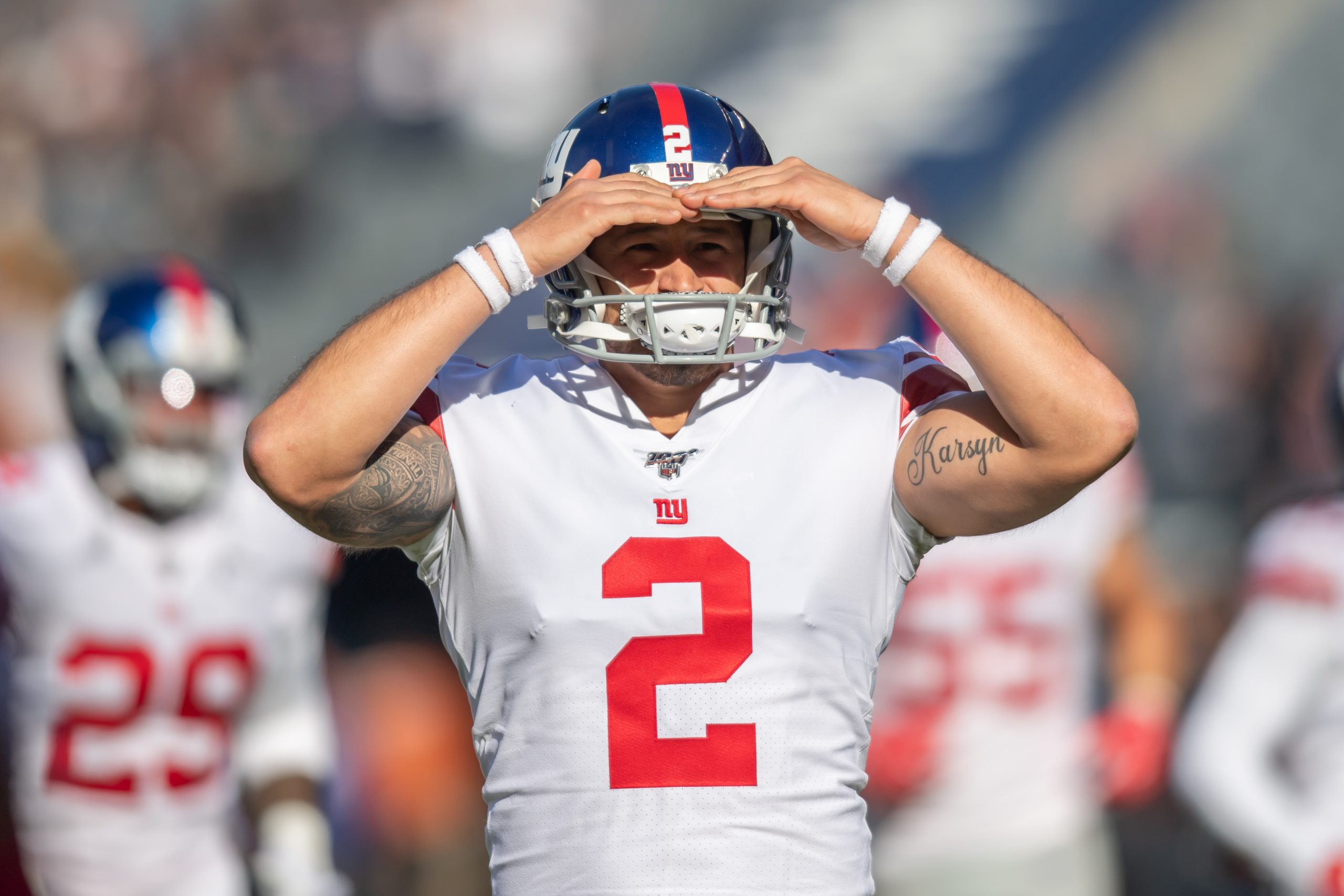 CHICAGO, IL - NOVEMBER 24: New York Giants Place Kicker Aldrick Rosas (2) warms up prior to an NFL, American Football He