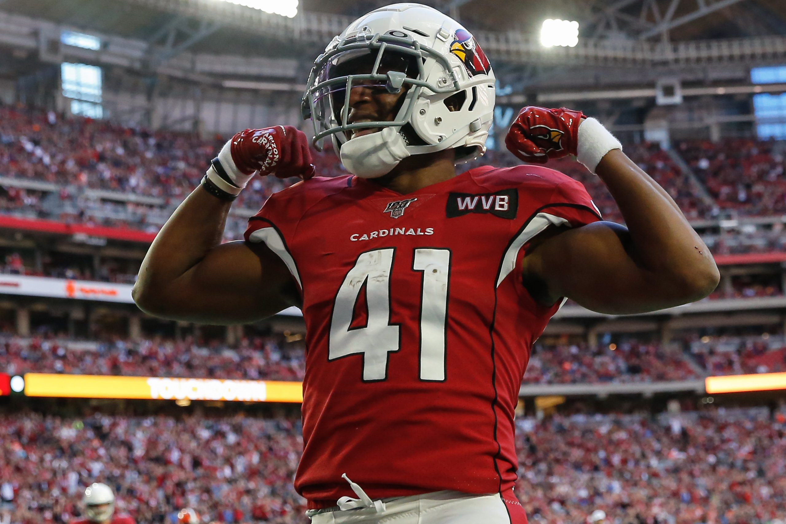 GLENDALE, AZ - DECEMBER 15: Arizona Cardinals running back Kenyan Drake (41) flexes after scoring a touchdown during the