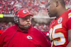 KANSAS CITY - JANUARY 19: Kansas City Chiefs head coach Andy Reid talks to Kansas City Chiefs defensive end Chris Jones