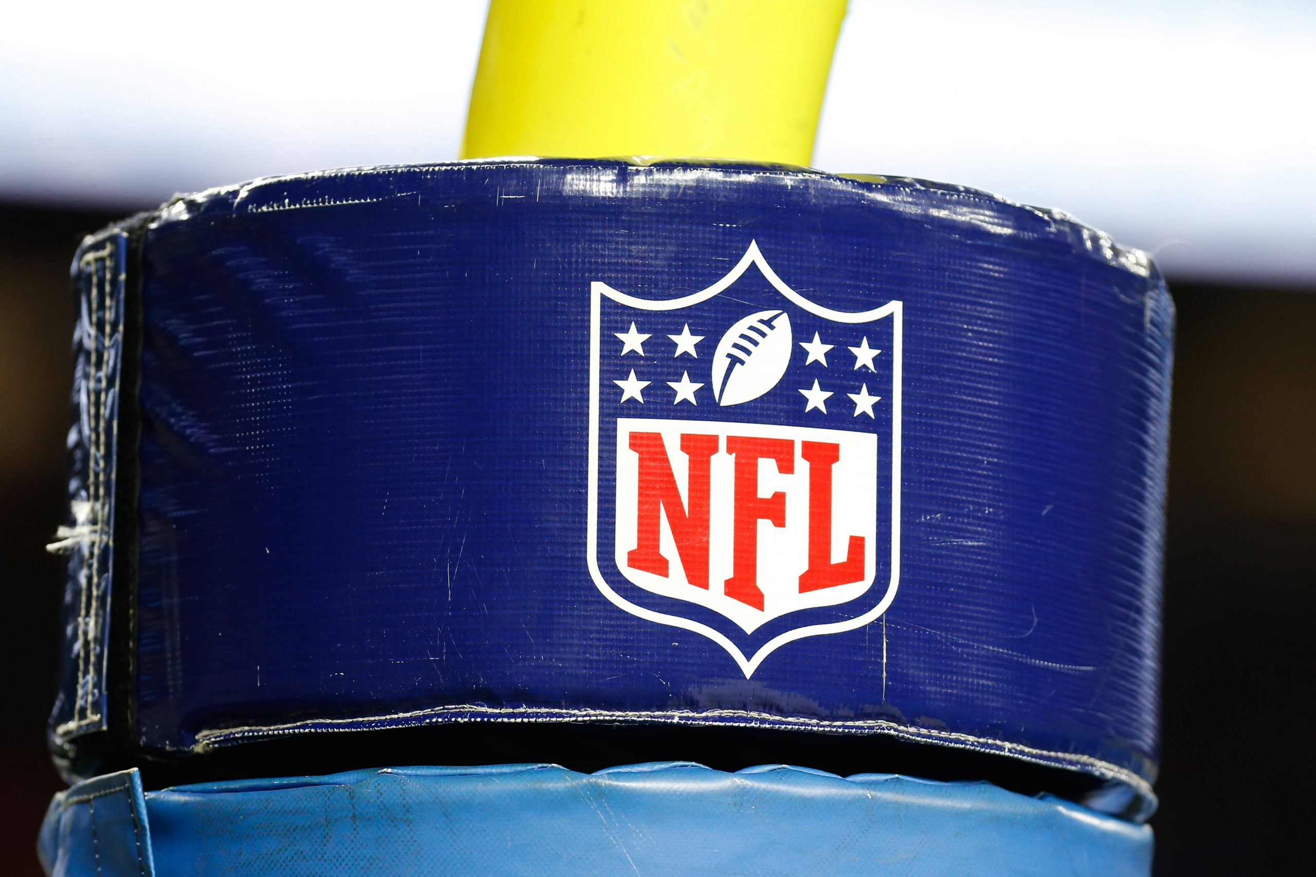 DETROIT, MI - SEPTEMBER 29: A general view of the NFL, American Football Herren, USA logo on the goal post padding is se