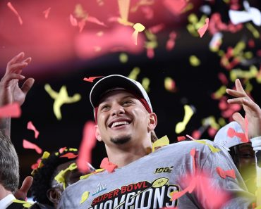 Kansas City Chiefs quarterback and Super Bowl MVP Patrick Mahomes celebrates after the Chiefs won Super Bowl LIV, defeat