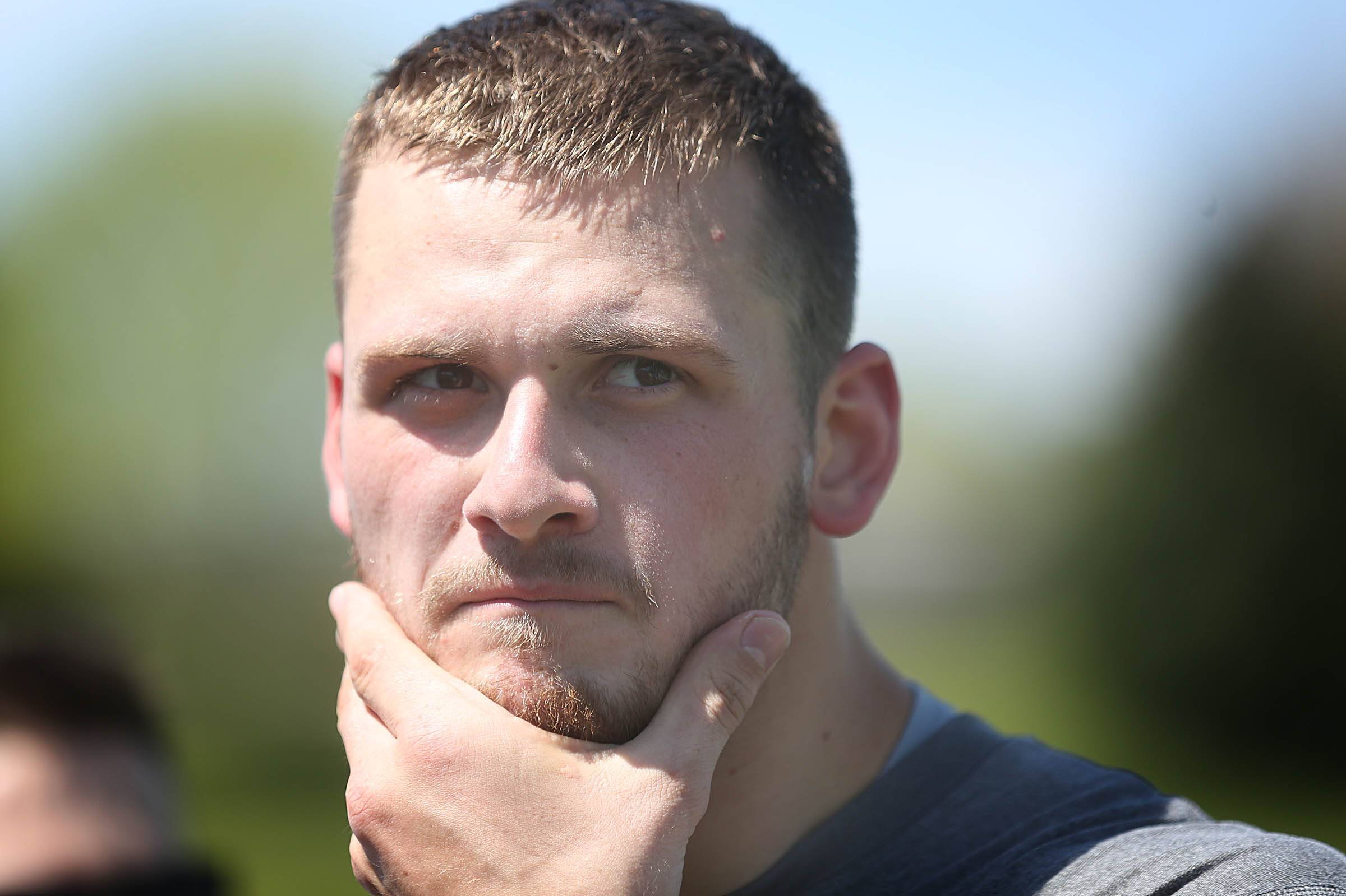 May 6 2016 Eden Prairie MN U S VikingsÖ wide receiver Moritz Boehringer spoke to members of