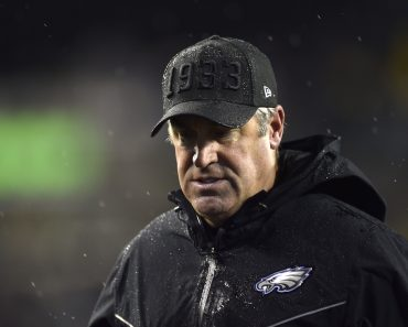Philadelphia Eagles head coach Doug Pederson walks off the field during the first half against the New York Giants at L