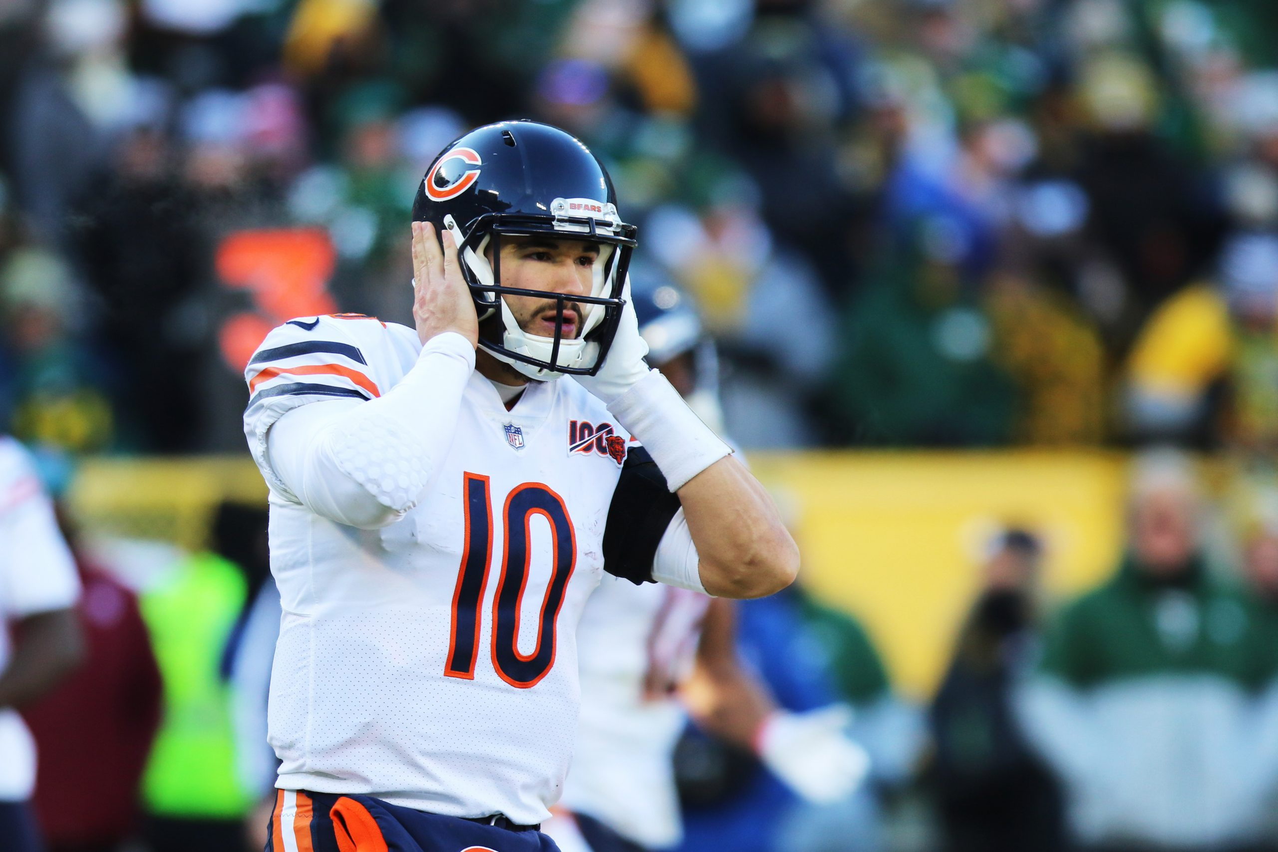 GREEN BAY, WI - DECEMBER 15: Chicago Bears quarterback Mitchell Trubisky (10) tries to hear a play call during a game be