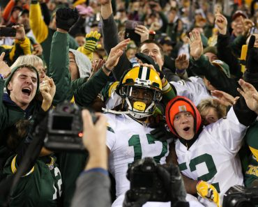 October 20 2016 Green Bay Packers Wide Receiver Davante Adams 17 does a Lambeau Leap with the fa