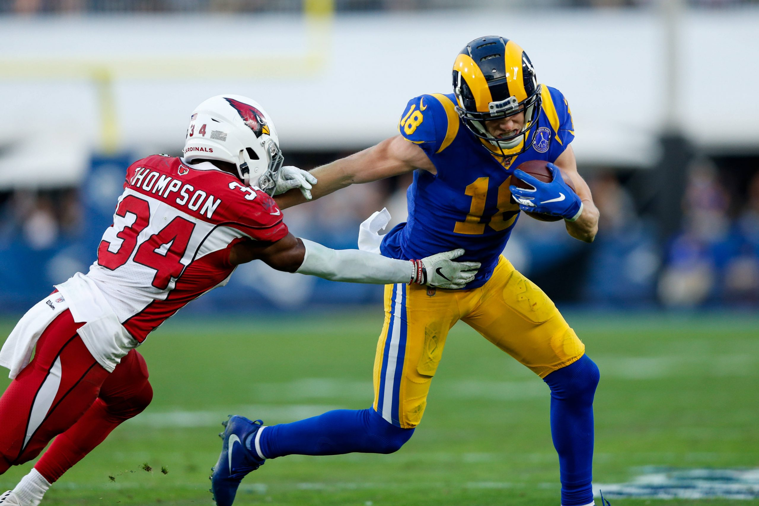 LOS ANGELES, CA - DECEMBER 29: Los Angeles Rams wide receiver Cooper Kupp (18) catches a pass and gets tackled by Arizon