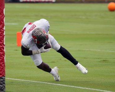 TAMPA, FL - AUG 30: The Buccaneers Chris Godwin (14) makes an outstanding catch in the back of the end zone and then get