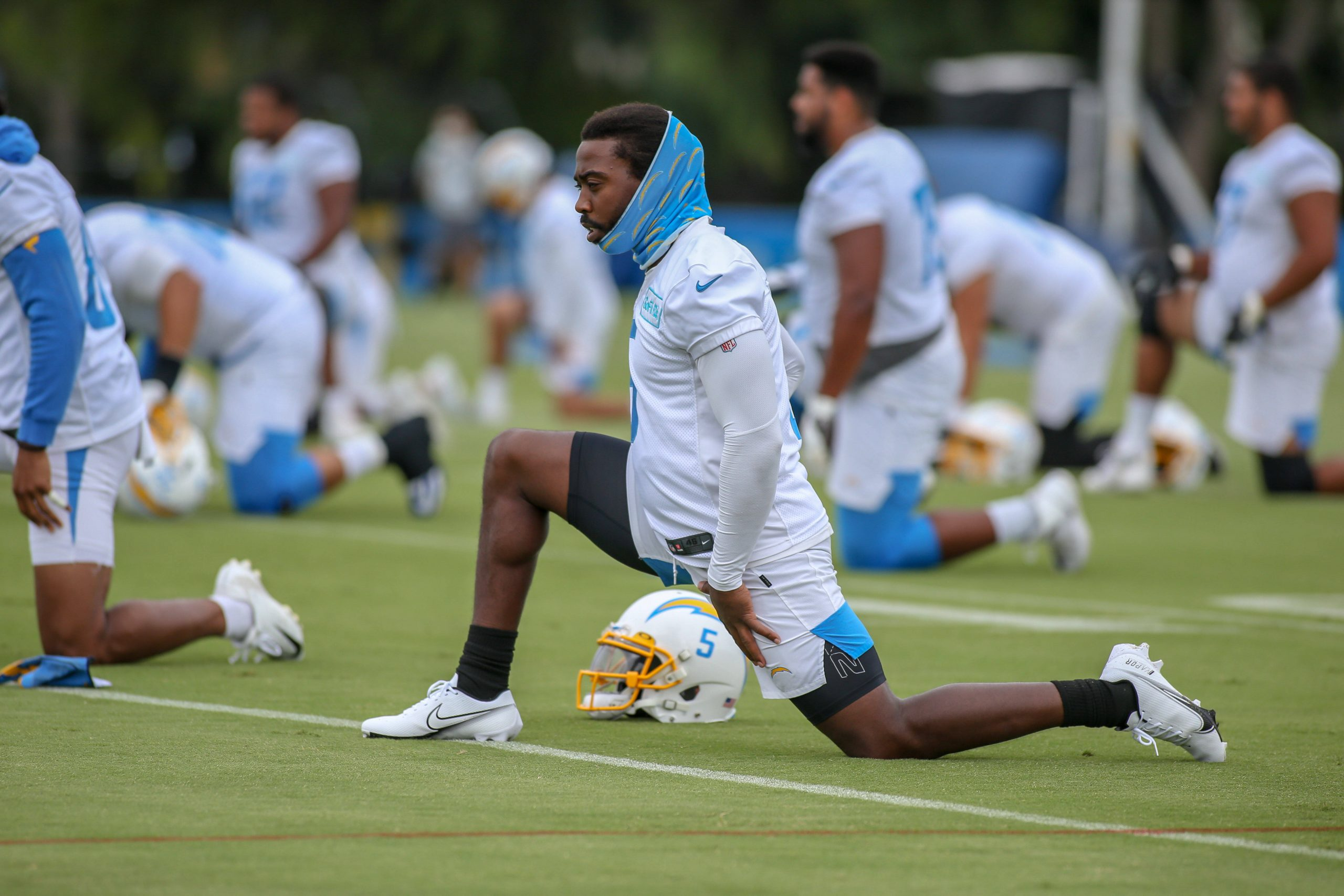 COSTA MESA, CA - AUGUST 31: Los Angeles Chargers quarterback Tyrod Taylor 5 during the Los Angeles Chargers training cam