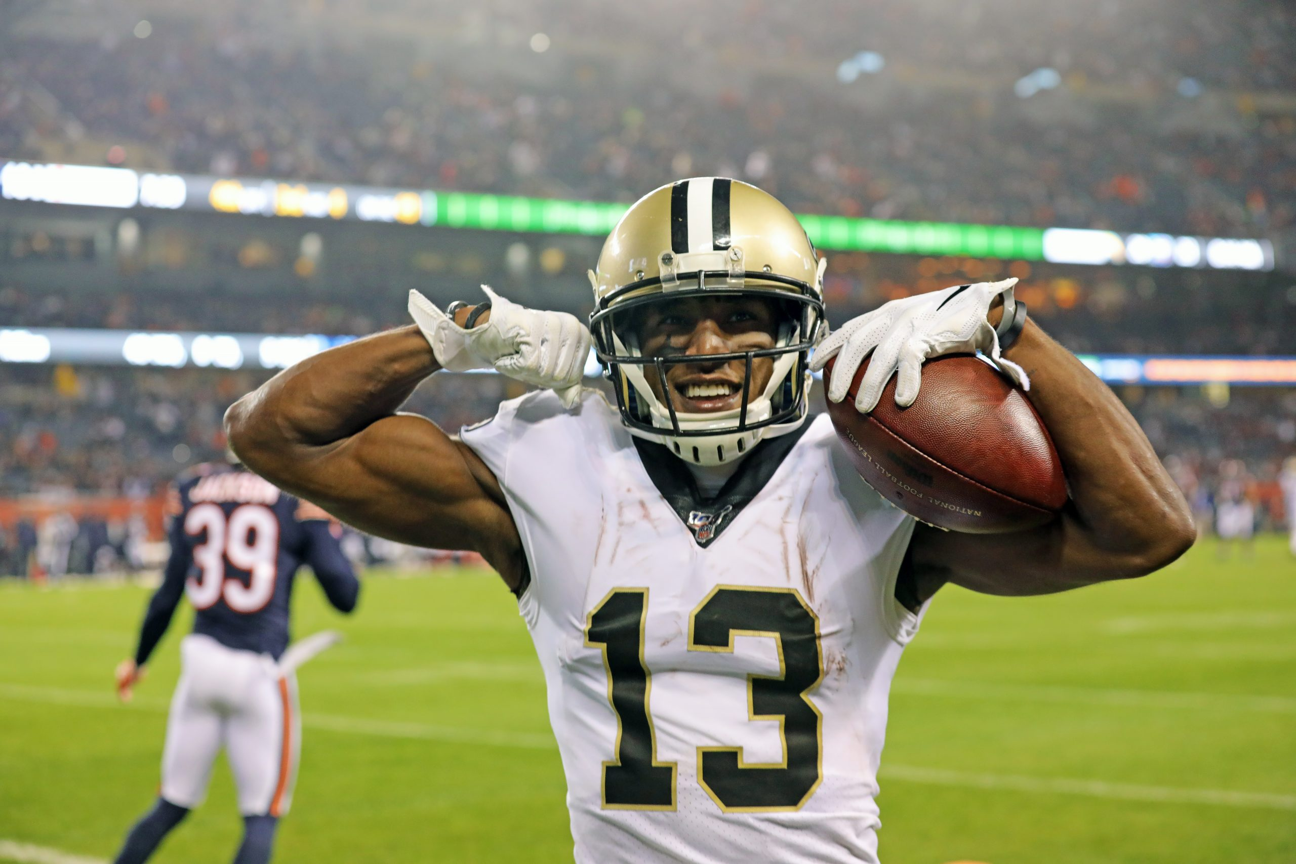 CHICAGO, IL - OCTOBER 20: New Orleans Saints wide receiver Michael Thomas (13) reacts to scoring a touchdown against Ch