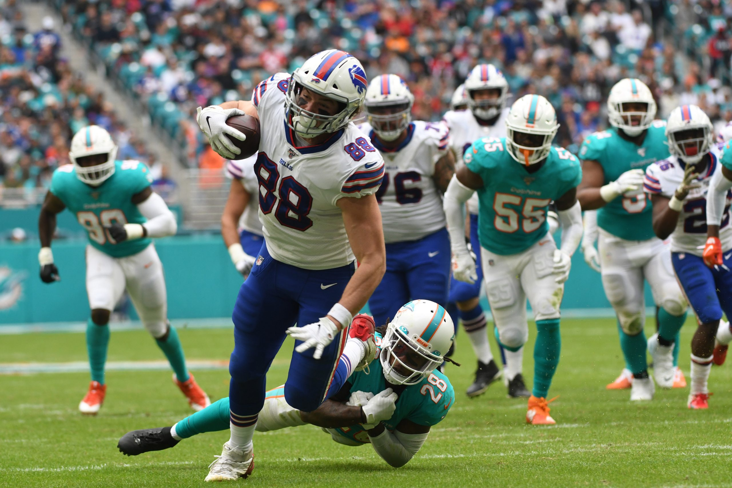 November 17, 2019: Dawson Knox 88 of Buffalo is tackled by Bobby McCain 28 of Miami during the NFL, American Football He