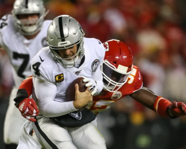 KANSAS CITY, MO - DECEMBER 01: Oakland Raiders quarterback Derek Carr (4) is sacked by Kansas City Chiefs defensive end