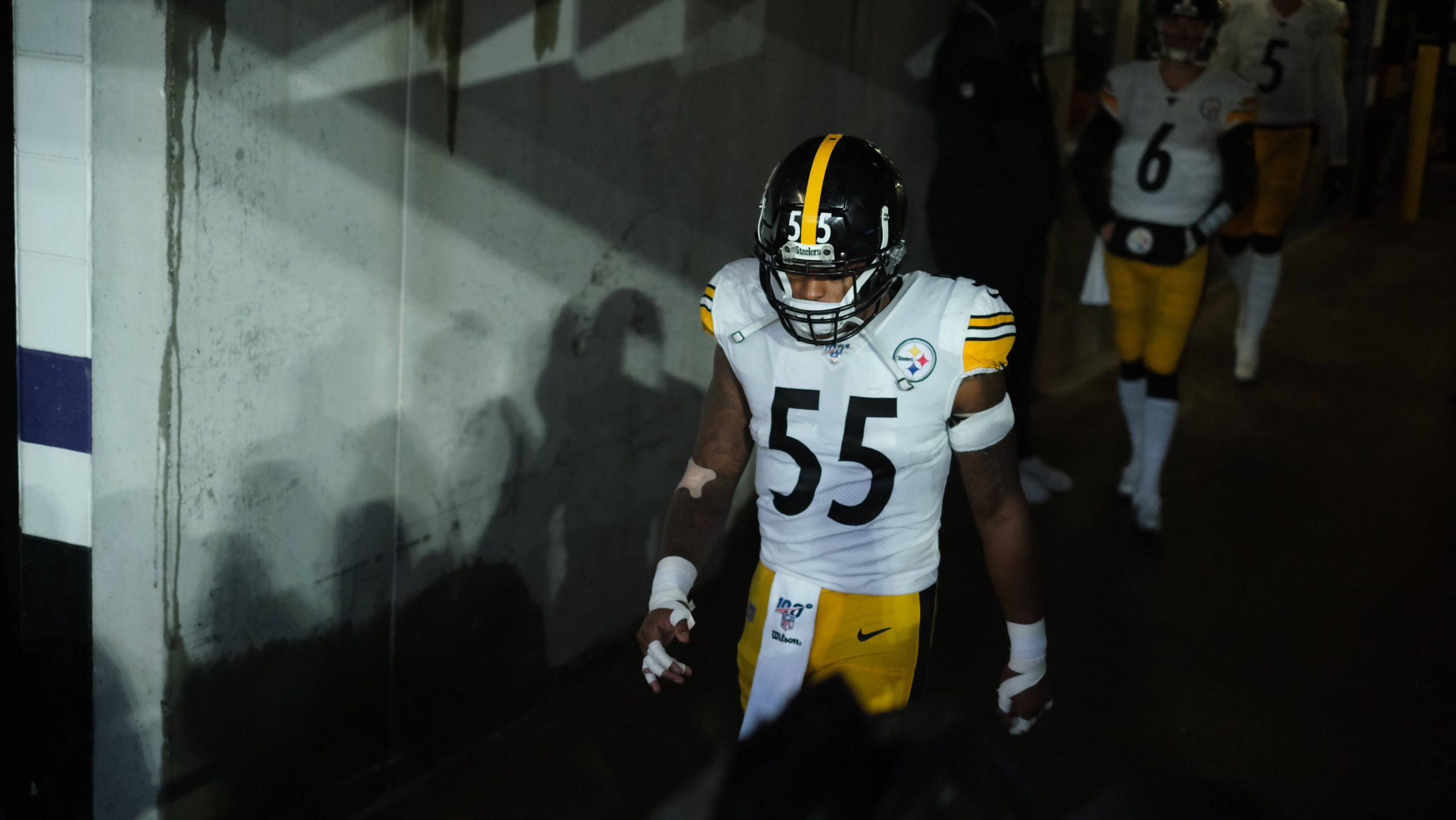 December 29th, 2019: Devin Bush 55 during the Pittsburgh Steelers vs Baltimore Ravens at M&T Bank Stadium in Baltimore,