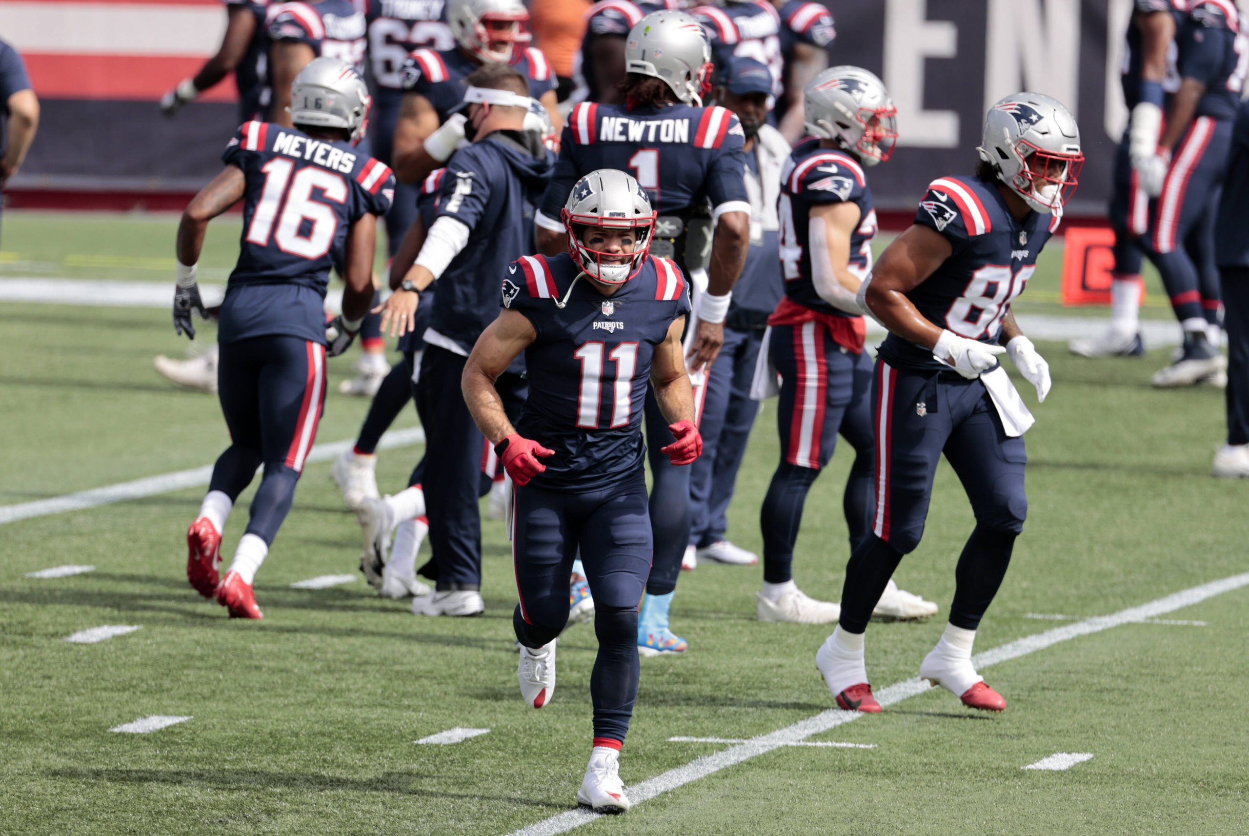 FOXBOROUGH, MA - SEPTEMBER 27: New England Patriots wide receiver Julian Edelman (11) breaks from the huddle before a ga