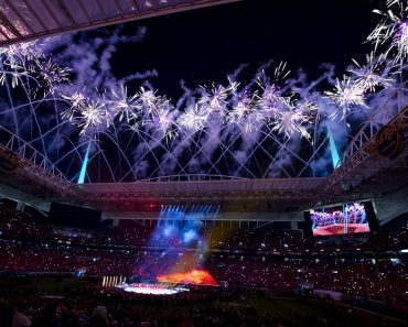 MIAMI GARDENS, FL - FEBRUARY 02: General view of the stadium during the Pepsi Halftime Show with fireworks during the NF