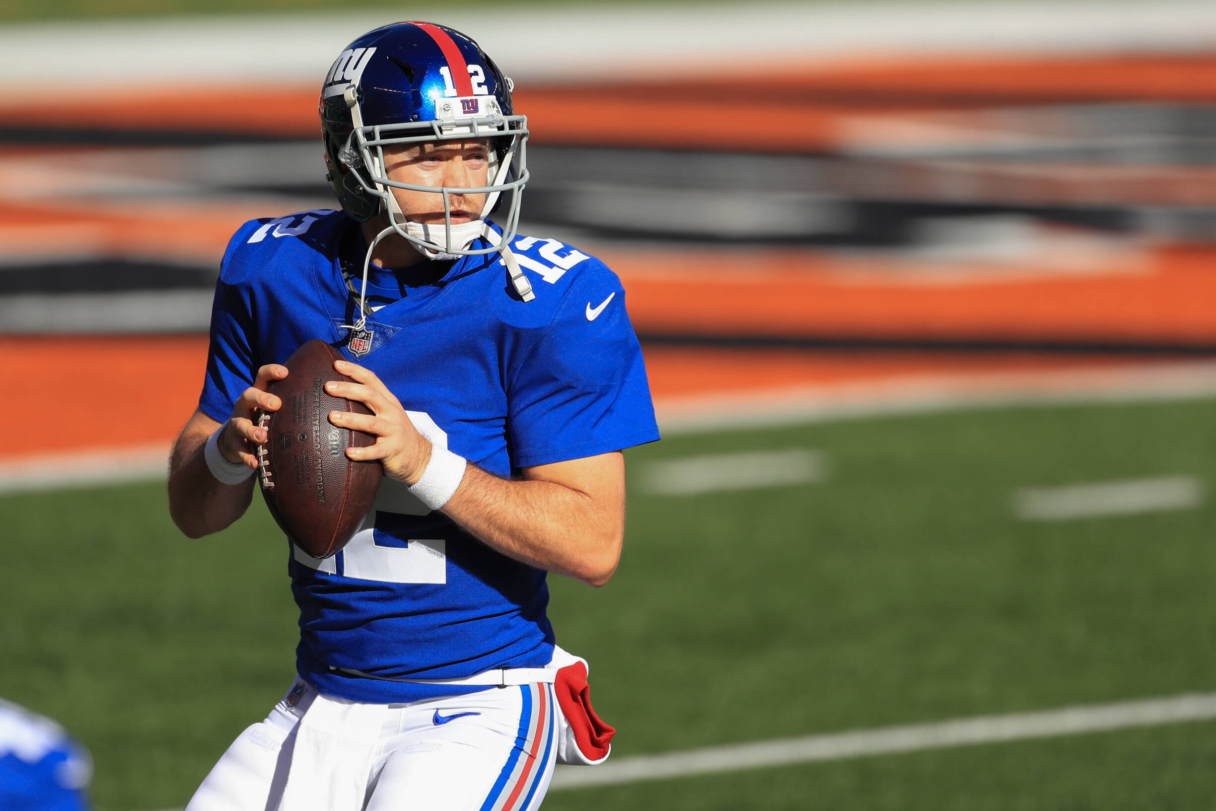 CINCINNATI, OH - NOVEMBER 29: New York Giants quarterback Colt McCoy (12) warms up before the game against the New York