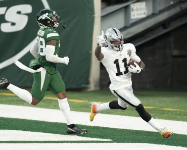December 6, 2020, Las Vegas Raiders wide receiver Henry Ruggs III (11) reacts to the touchdown with New York Jets corne