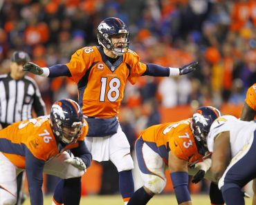 Jan 3 2016 Denver CO USA DENVER CO JAN 3 2016 Broncos Peyton Manning calls out a play