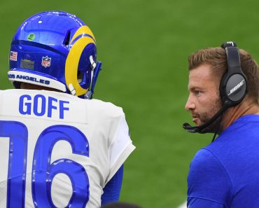August 22, 2020, Inglewood, California, USA: Quarterback Jared Goff 16 of the Los Angeles Rams with head coach Sean McV