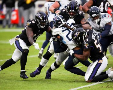 BALTIMORE, MD - NOVEMBER 22: Baltimore Ravens linebacker Tyus Bowser (54) and Baltimore Ravens defensive end Derek Wolfe
