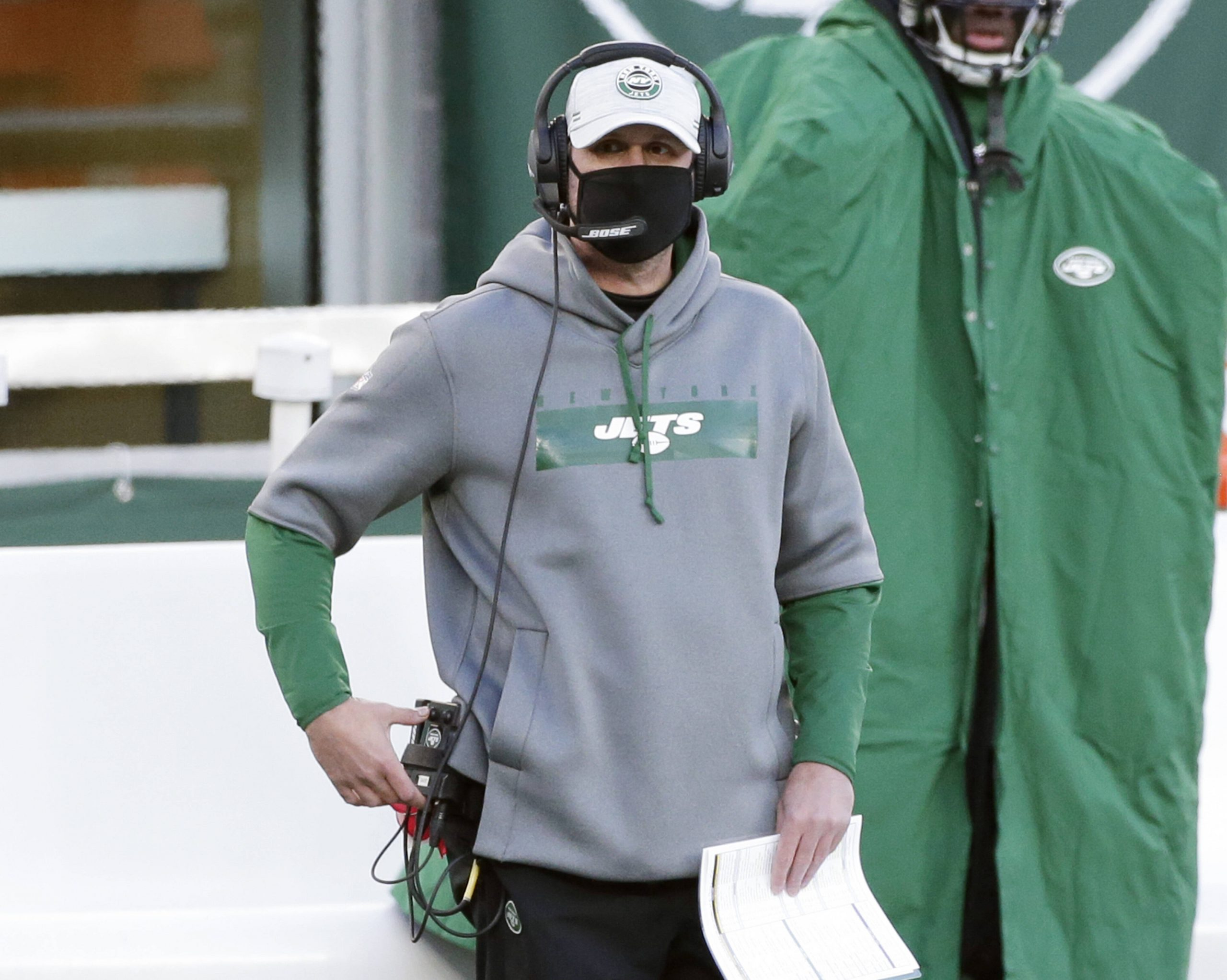 New York Jets head coach Adam Gase stands on the sidelines in the second half against the Las Vegas Raiders in week 13