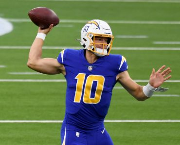 December 13, 2020, Inglewood, California, USA: Quarterback Justin Herbert 10 of the Los Angeles Chargers passes against