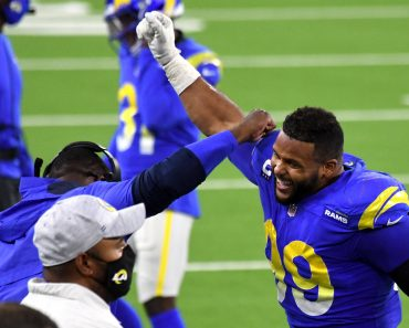December 10, 2020, Inglewood, California, USA: Defensive end Aaron Donald 99 celebrates after teammate defensive end Mor
