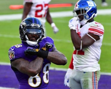 Baltimore Ravens wide receiver Dez Bryant (88) reacts after an 8-yard touchdown pass against the New York Giants during