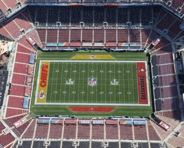 TAMPA, FL - JANUARY 31: Aerial view vf Raymond James Stadium, site of Super Bowl LV between The Tampa Bay Buccaneers an