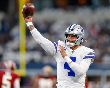 ARLINGTON, TX - DECEMBER 29: Dallas Cowboys Quarterback Dak Prescott (4) warms up prior to the NFC East game between the