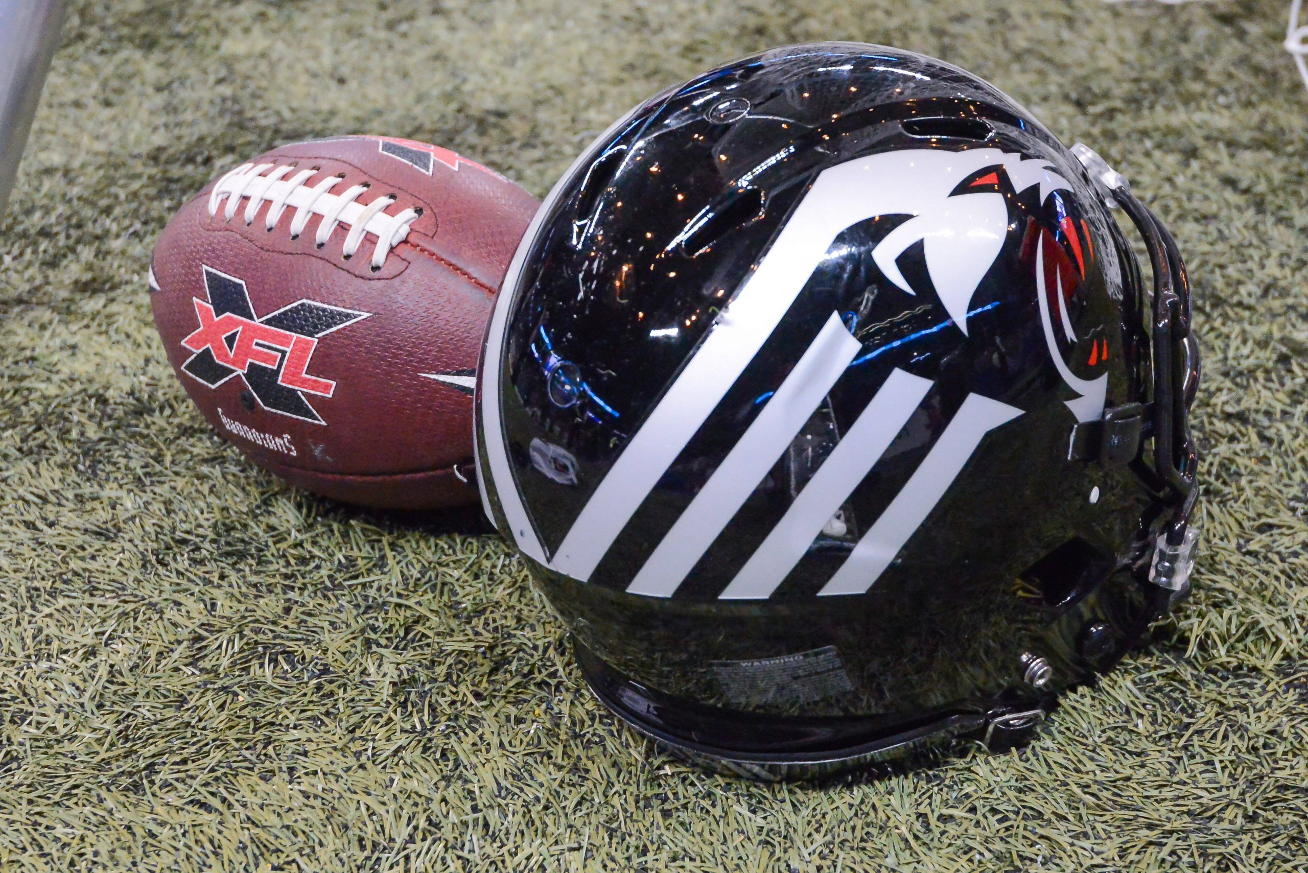 Feb 23, 2020: A New York helmet sits next to a XFL game ball in a game where the NY Guardians visit