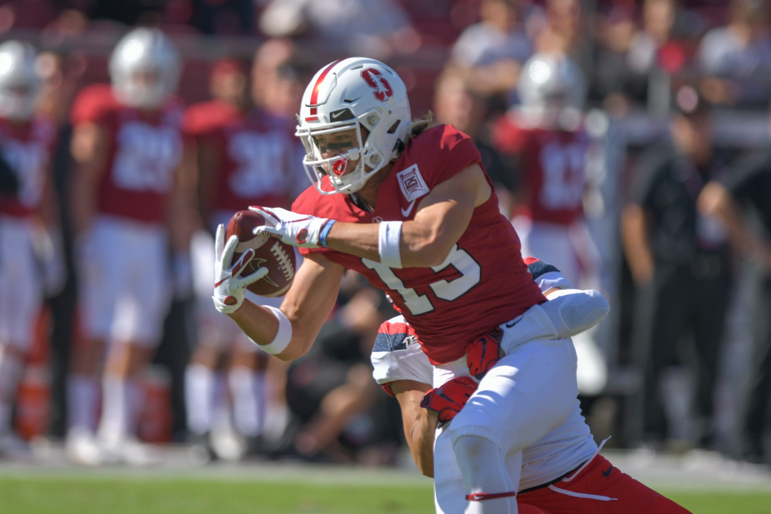 October 26, 2019: Stanford Cardinal wide receiver Simi Fehoko (13) pulls down a catch during the NCA
