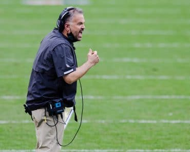 November 22, 2020: Carolina Panthers head coach Matt Rhule reacts to a call in the fourth quarter of the NFL, American