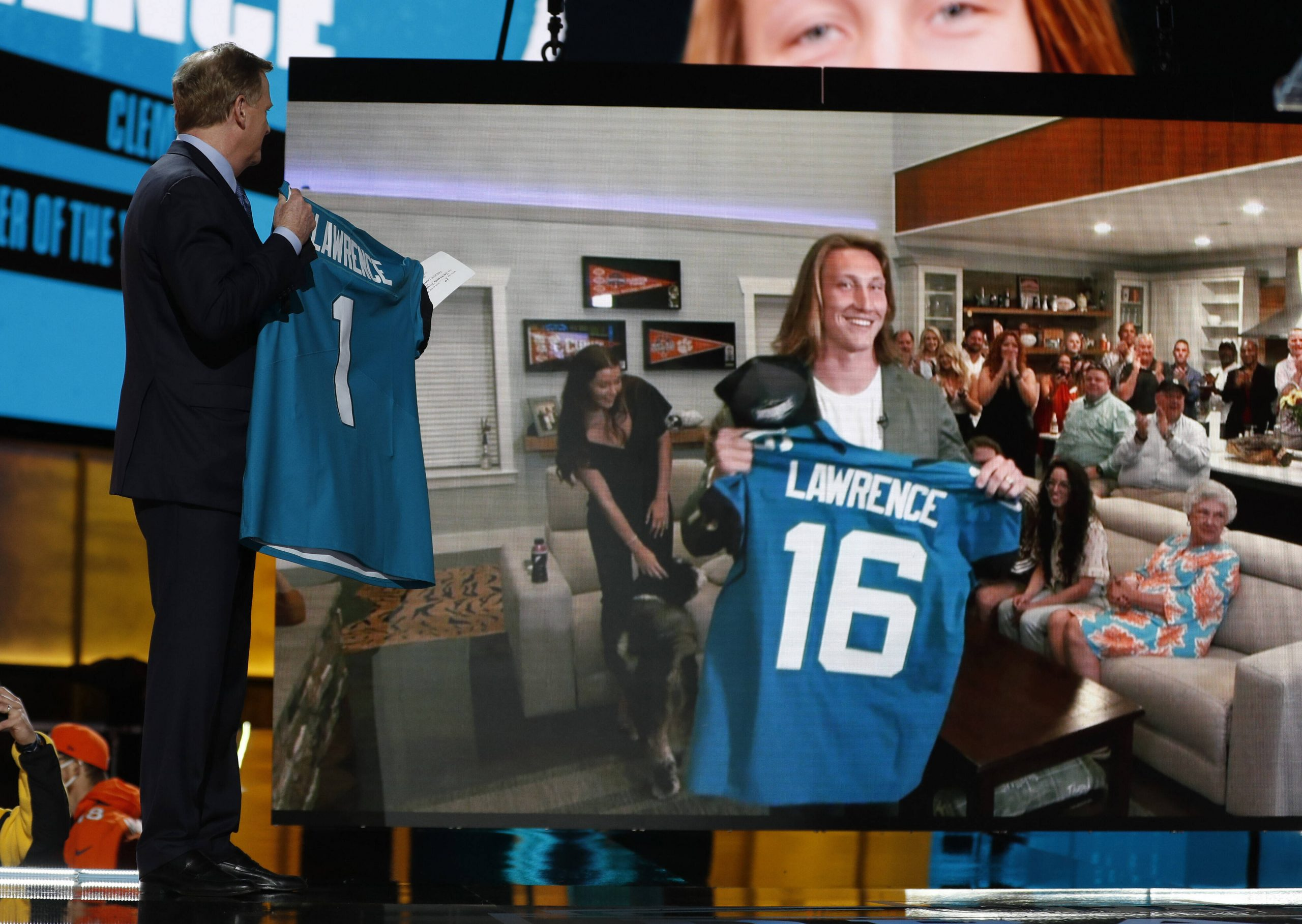 The Jacksonville Jaguars select Clemson quarterback Trevor Lawrence with the number 1 pick at the 2021 NFL, American Foo