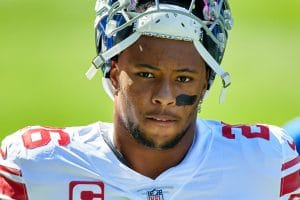 CHICAGO, IL - SEPTEMBER 20: New York Giants running back Saquon Barkley (26) looks on in action during a game between th