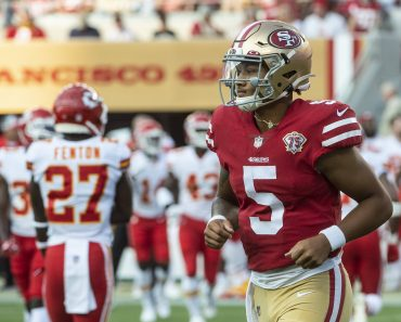 San Francisco 49ers quarterback Trey Lance (5) jogs off the field in the second quarter against the Kansas City Chiefs a