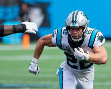 September 19, 2021: Carolina Panthers running back Christian McCaffrey (22) runs on first down against the New Orleans S