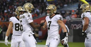 New Orleans Saints quarterback Teddy Bridgewater with QB Taysom Hill