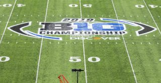 December 07, 2019: A general overall view of the Big Ten logo at midfield during NCAA, College League, USA Football game