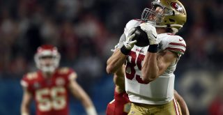 February 2, 2020, Miami Gardens, FL, USA: San Francisco 49ers tight end George Kittle (85) catches a pass deep in Kansas